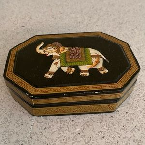 Black lacquer trinket box lucky elephant motif